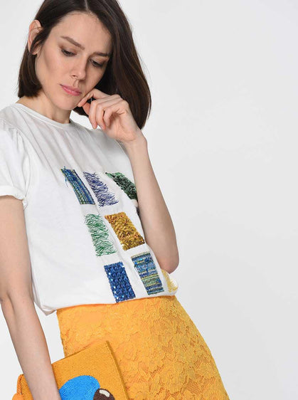 Grid Pattern Embellished T-Shirt