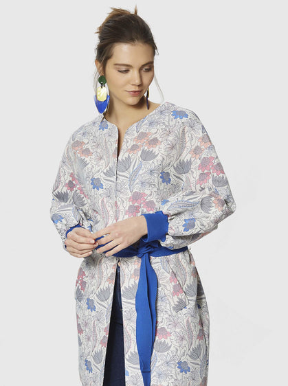 ROMAN USA- [BLUE] Belted Floral Coat-- [ORIGINAL]