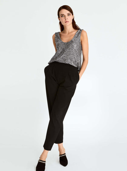 ROMAN USA-Straight Leg Ankle-Cut Pant-- [BLACK]