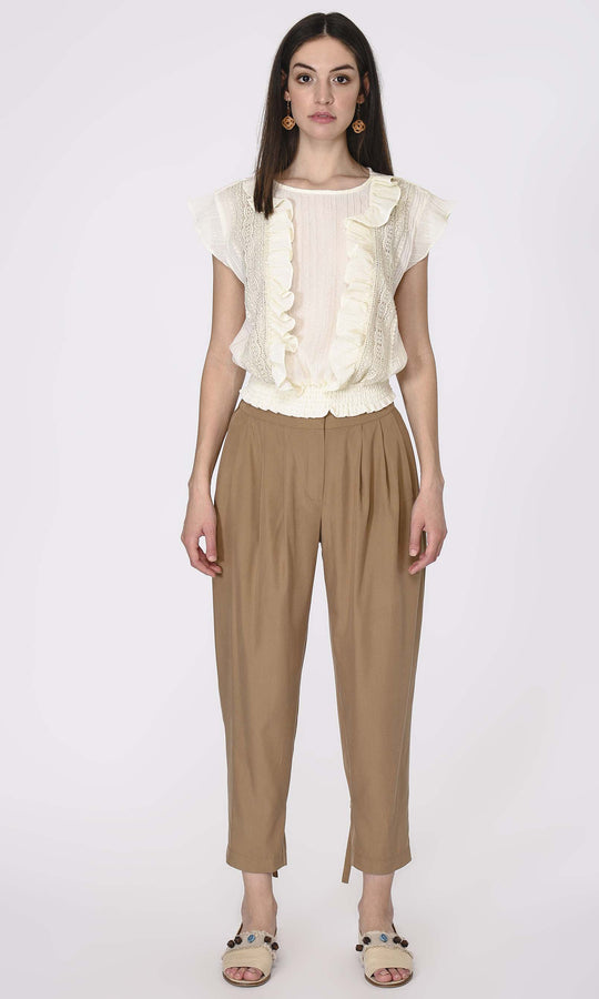 FRONT PLEATED CROPPED PANTS