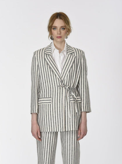 ROMAN USA-Notched Stripe Wrap Blazer-- [BLACK]-- [WHITE]