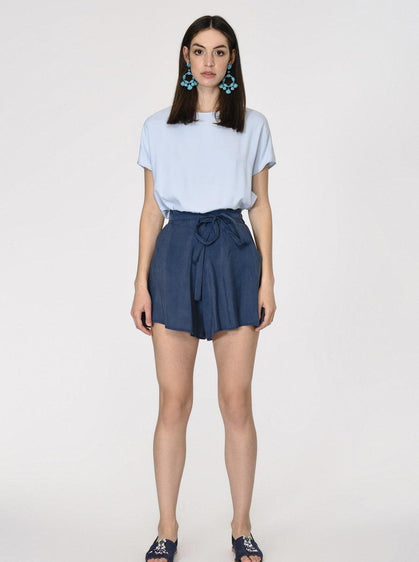 Navy Paper Bag Shorts