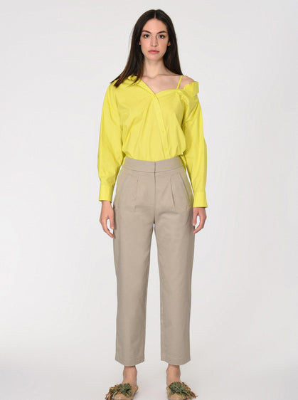 ROMAN USA-High-Waist Straight Cut KHAKI-- [STONE]
