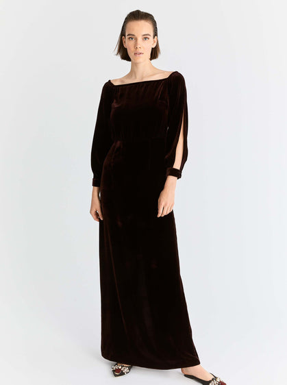 ROMAN USA-Slit-Sleeve Velour Gown-- [BURGUNDY]