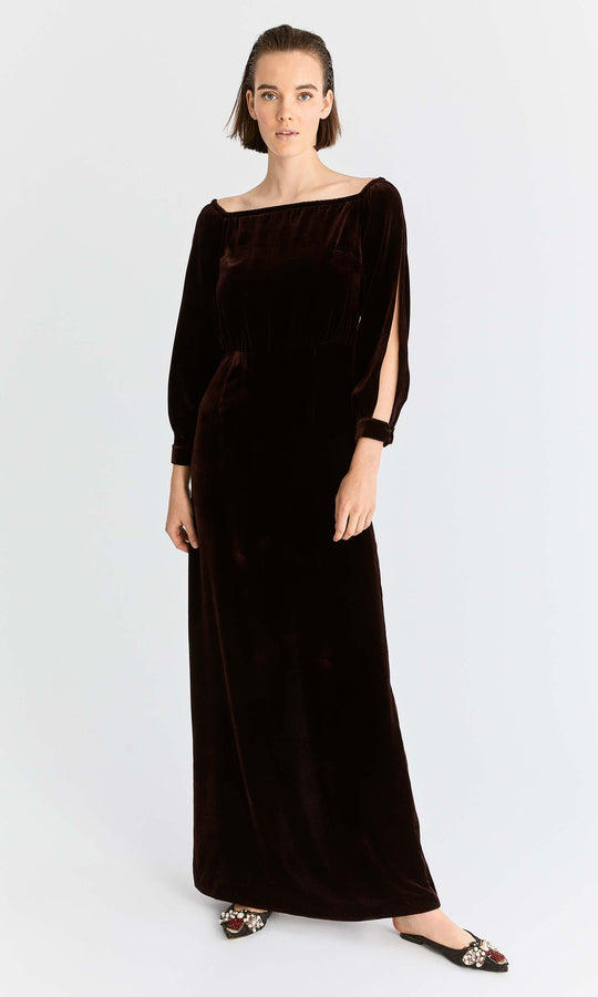 Slit-Sleeve Velour Evening Gown
