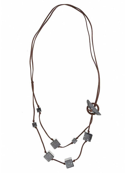 ROMAN USA-Marbled Cube Detail Necklace-- [ORIGINAL]
