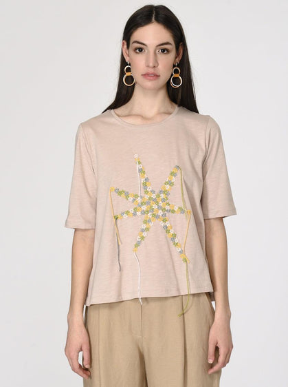 Star Shaped Floral Detail T-Shirt