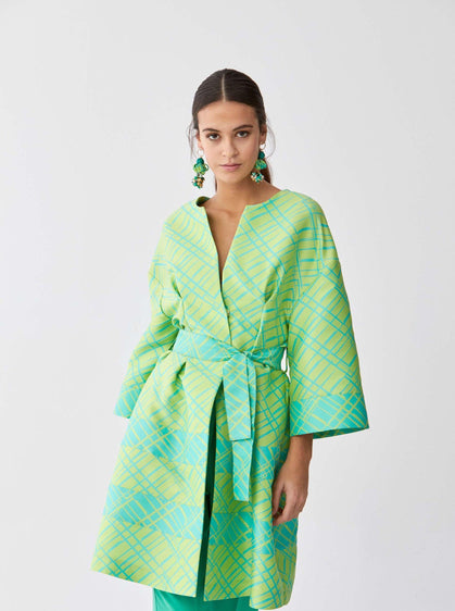 Lime Checked Hourglass Coat