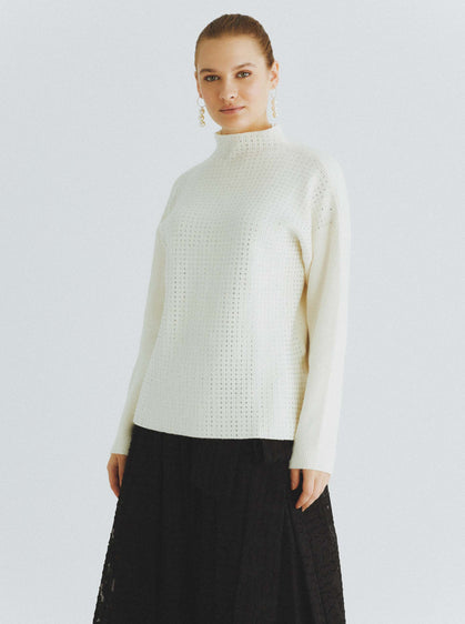 ROMAN USA-Diamante Fuzzy Mockneck Sweater-- [BLACK]