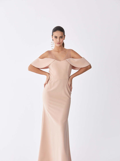 ROMAN USA-Powder Cold Shoulder Gown-- [POWDER]