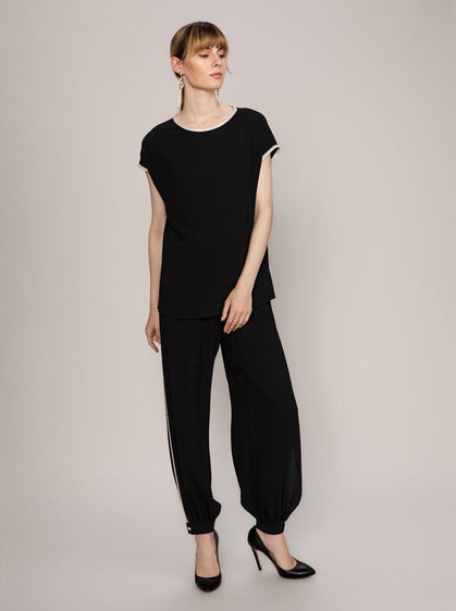 ROMAN USA- [BLACK] Cap Sleeve Top-- [BLACK]
