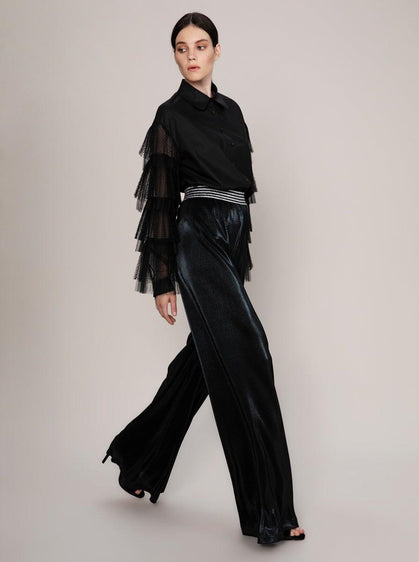 WIDE LEG SILVER BELTED PANT