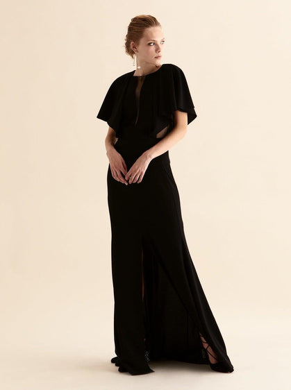 BLACK SHEER V-NECK DETAILED EVENING GOWN