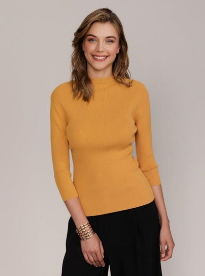 RIBBED MOCKNECK KNIT SHIRT