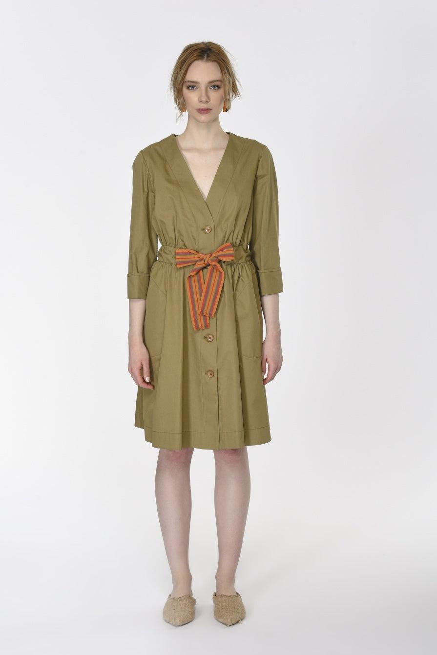 ROMAN USA-Drawstring Belted Trench Dress-- [KHAKI]