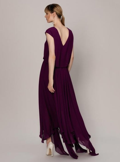 Flowing Purple Cap Sleeve Gown
