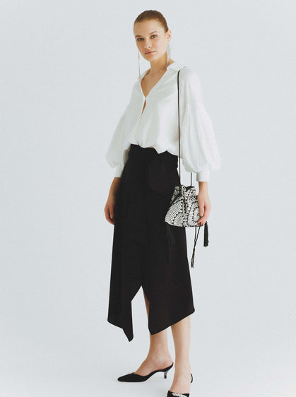 ROMAN USA-Layered Asymmetrical Midi Skirt-- [PETROL]