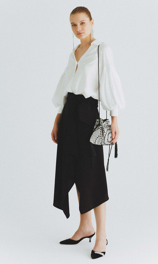Layered Asymmetrical Midi Skirt