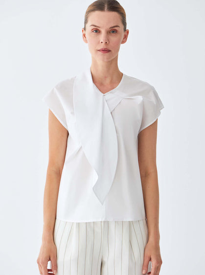 ROMAN USA-Cotton Cap Sleeve Blouse-- [WHITE]