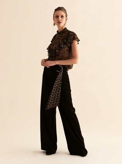 ROMAN USA-Deco Belted Wide Leg Pant-- [BLACK]