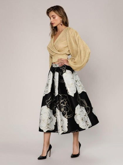FLORAL STRUCTURED FLARE SKIRT