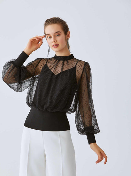 ROMAN USA-Sheer Embellished Lantern Sleeve Blouse-- [BLACK]