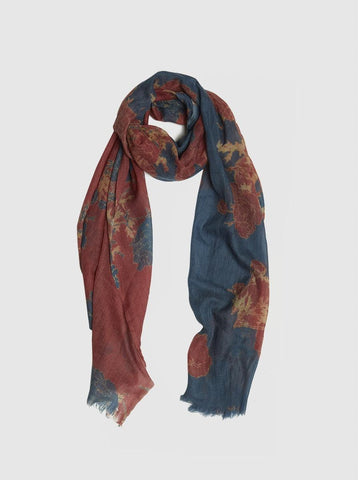 Grey, Navy, Black Print Scarf