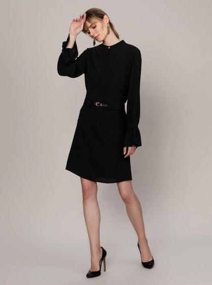BELTED FLAIR SLEEVE DRESS