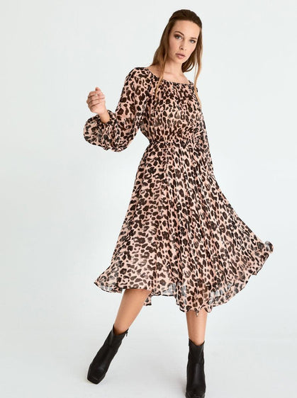 ROMAN USA-Leopard Print Midi-Dress-- [ORIGINAL]