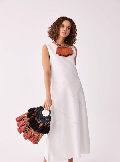 ROMAN USA-Free Fit Maxi Dress-- [ECRU]