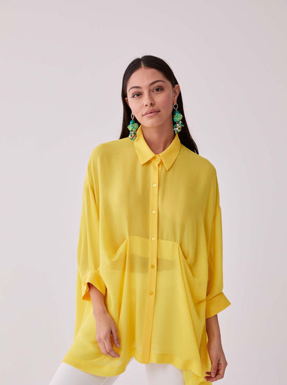 Drop-Hem Sheer Longline Blouse