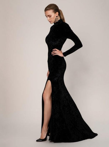 ROMAN USA-High Neck Fitted Evening Gown-- [BLACK]