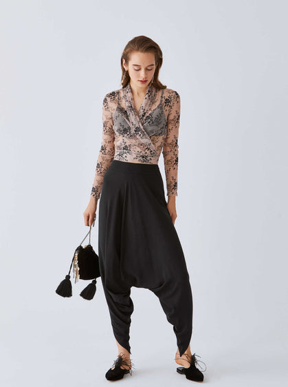 ROMAN USA-Low-Hem Harem Pants-- [BLACK]