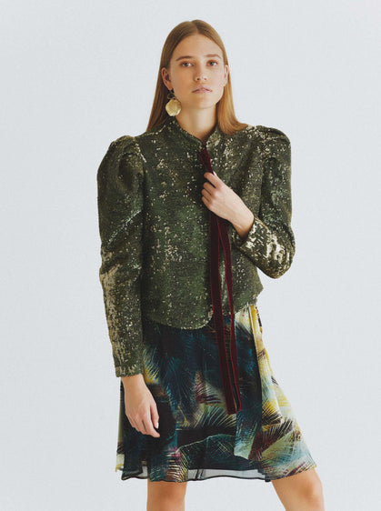 Ruched Sleeve Olive-Shimmer Jacket