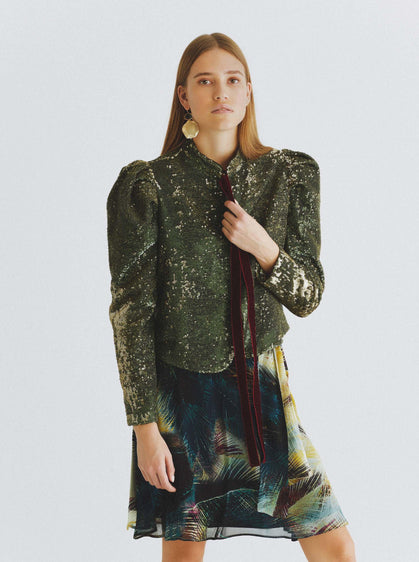 ROMAN USA-Ruched Sleeve Olive-Shimmer Jacket-- [GREEN]