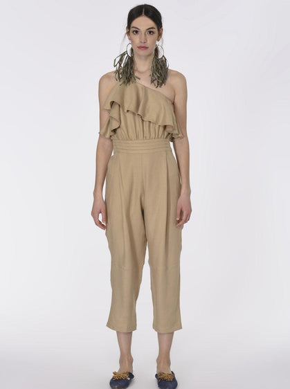 RUFFLE DETAILED ELASTIC WAIST JUMPSUIT