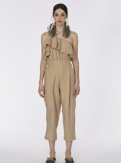 ROMAN USA-Ruffled Canvas Jumpsuit-- [BEIGE]