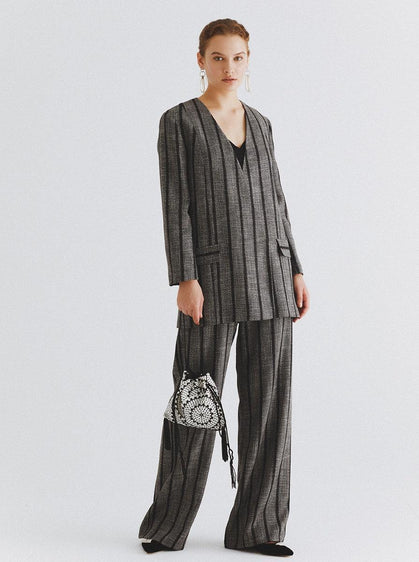 ROMAN USA-Longline Grey Striped Blazer-- [GREY]-- [BLACK]