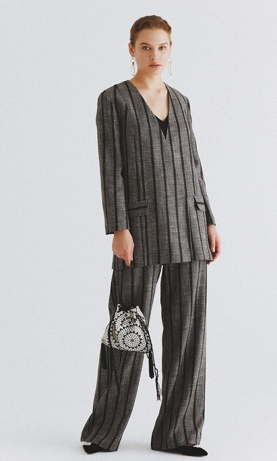 Classic Grey Striped Overcoat