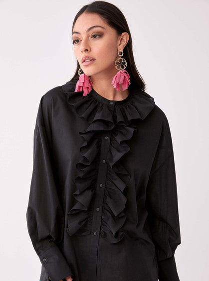 ROMAN USA-Structured Ruffle Panel Blouse-- [BLACK]