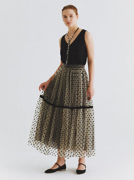 Tea-Length Velvet Polka Dot Skirt