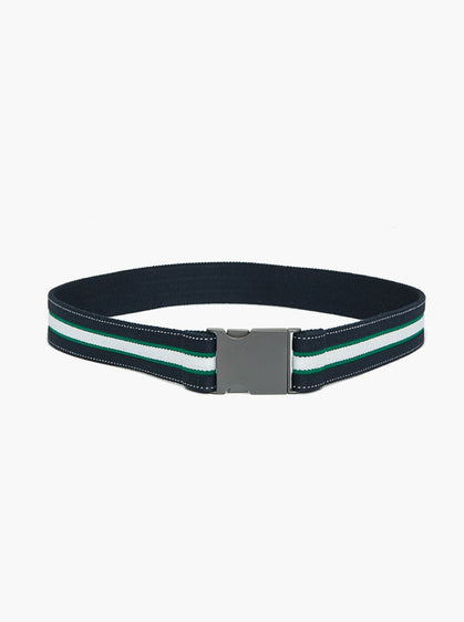 METAL BUCKLE STRIPED BELT