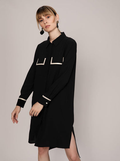 ROMAN USA- [WHITE] Trim Pocket Detail Shirt Dress-- [BLACK]