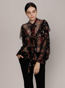 RIBBON DETAILED SHEER FLORAL BLOUSE