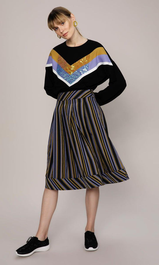 STRIPED A-LINED SKIRT