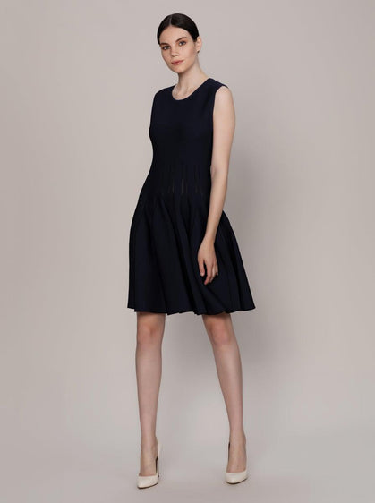 ROMAN USA-Box Pleated Knit Dress-- [NAVY]