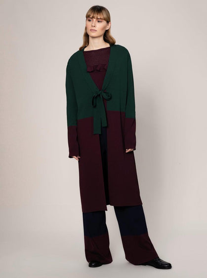 ROMAN USA- [GREEN] Longline Knit Cardi-- [MULTICOLOR]
