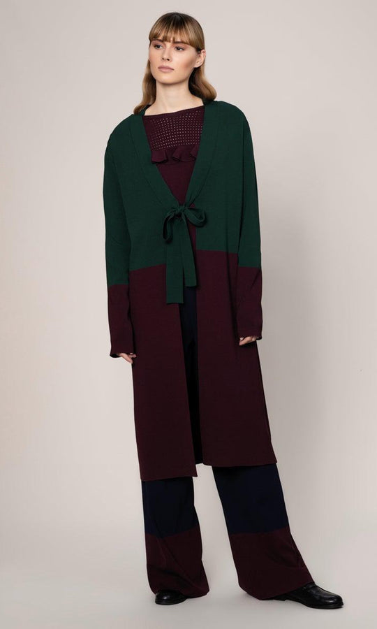 BURGUNDY - GREEN CARDIGAN