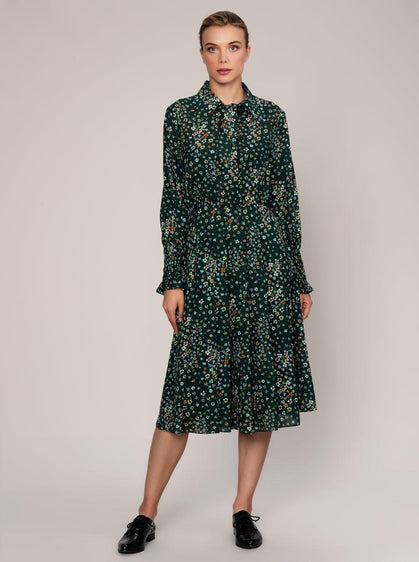 ROMAN USA-Shirred Cuff Emerald Shirt Dress-- [ORIGINAL]