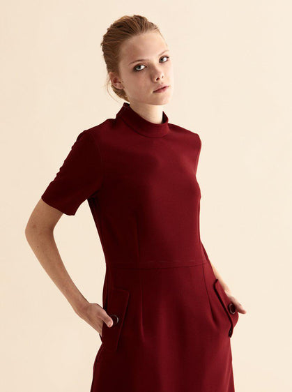 Burgundy Pocket Detail Dress